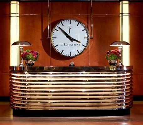 Chatwal Hotel Lobby, LUMICHRON custom clock,