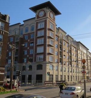 mixed-use development, roman clock, tower clock, clock tower