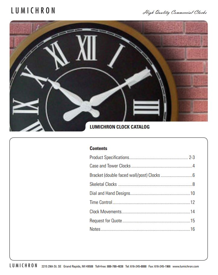 Tower Clock Catalog, Catalog, Lumichron Clock Company