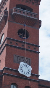 This 60-inch custom clock face with analog clock control cannot be fitted up the narrow spiral staircase of the monument tower. LUMICHRON engineered a way to deliver and install them from the outside.