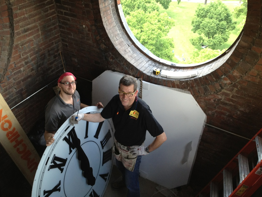 Ian Macartney (R) and Dustin Matthews (L) of LUMICHRON inside the monument clock tower.