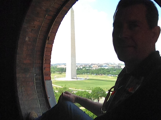 Bird's eye view of the Washington Monument, from the clock tower