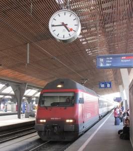 Swiss Railway Clock on the platform of the Burgdorf station in Switzerland