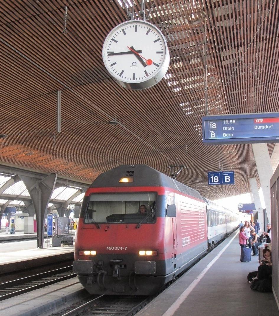 The iconic custom-made Swiss Railways Clock, at the train station platform in Burgdorf Switzerland
