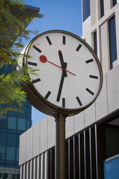 UCSF, Saunders exterior outdoor clock with custom clock dial, custom clock face