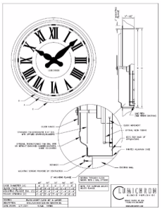 "Typical Enclosed Case Clock, Flush Mount Exposed Polycarbonate Face and Hands, 48"" – 96"" diameter"
