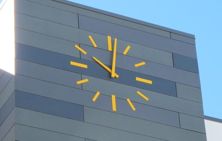 Outdoor Tower Clock by LUMICHRON in Denver, Colorado This is a good example of a skeletal or silhouette style clock.